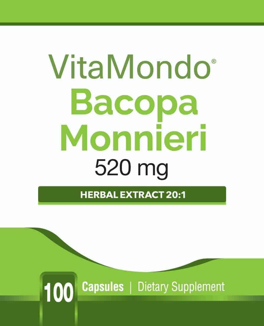 Organic Bacopa Monnieri 20:1 Extract: 520 mg * 100 Capsules – Cognition